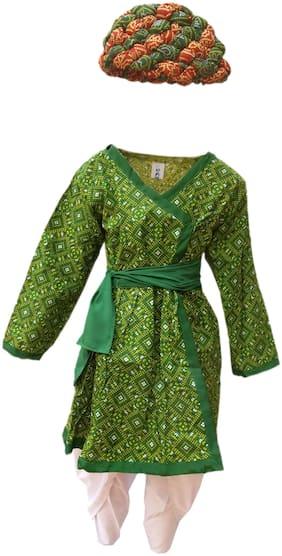 Kaku Fancy Dresses Indian Traditional Rajasthani Boy Costume -Green, 3-4 Years, For Boys