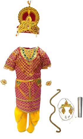 Kaku Fancy Dresses Shri Ram Gown Costume For Ramleela/Dussehra/Mythological Character Costume -Multicolor, 3-4 Years, For Boys