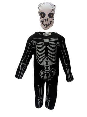 Kaku Fancy Dresses Skeleton Costume,California Cosplay Halloween Costume -Black, 7-8 Years, For Boys & Girls