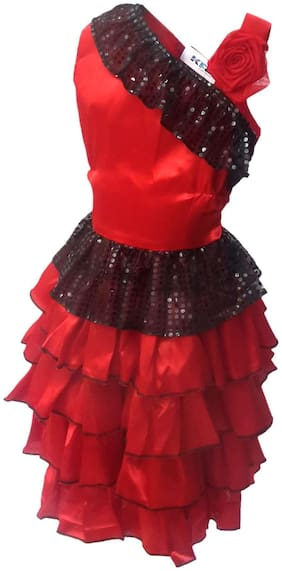 Kaku Fancy Dresses Spanish Girl Global Traditional Costume -Red & Black, 3-4 Years