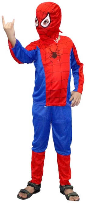 Kaku Fancy Dresses Spider Super Hero Costume -Red & Blue, 3-4 Years, For Boys