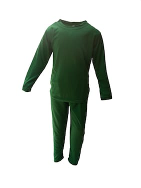 Kaku Fancy Dresses Plain Track Suit Costume Set -Green, 7-8 Years, For Unisex