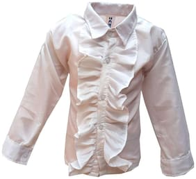 Kaku Fancy Dresses White Frill Shirt Western Costume -White, 7-8 Years, For Boys