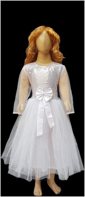 Kaku Fancy Dresses White Princess Long Net Gown -White, 7-8 Years, For Girls