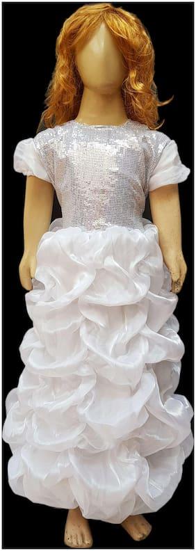 Kaku Fancy Dresses White Princess Long Lcd Gown -White, 7-8 Years, For Girls