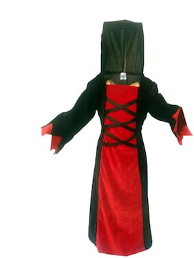 Kaku Fancy Dresses Witch Costume/California Cosplay Halloween Costume -Red & Black, 3-4 Years, For Girls