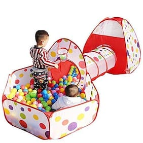 Kgint Kids Polyester 3 in 1 Tent House Ball Pool Tunnel Playpen Various Style with Colorfull Balls