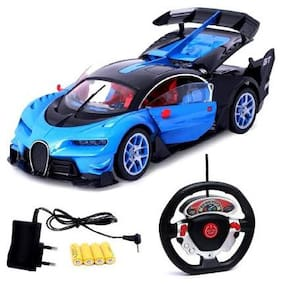KHAMKARI TOYS Steering (BLUE;Black ) Remote Control Car with Openable Doors