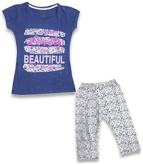 KID'S CARE Girl's Cotton Printed Top & capri set - Blue & White