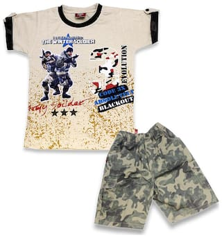 KID'S CARE Cotton Printed Top & Bottom Set - Beige & Green
