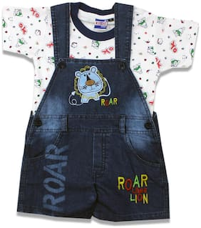 KID'S CARE Baby boy Denim Printed Jumpsuit - White