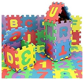 English Alphabet & Numbers 1 to 10 Kids Puzzle Play Mats with Added Fragrance ( 36 pcs , 3-inch )