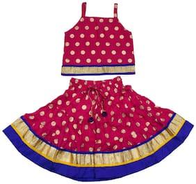 Magnus Girl's Rayon Printed Sleeveless Lehenga choli - Pink