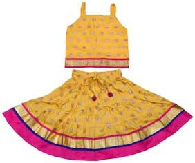 Magnus Girl's Rayon Printed Sleeveless Lehenga choli - Yellow