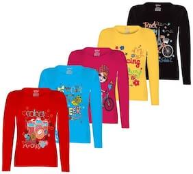 Kiddeo Fullsleeve Round neck Multi Colour Casual 100% Cotton T Shirt For Girls