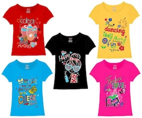 Kiddeo Half Sleeve Round Neck Multi Colour Casual 100% Cotton T Shirt For Girls