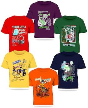 Kiddeo Boy Cotton Printed T-shirt - Multi