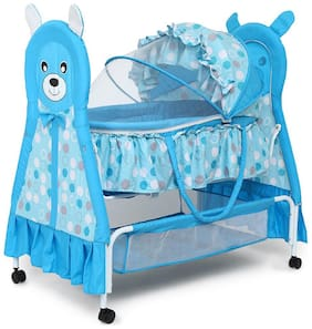 Kiddery Bella+Baloo Blue Baby Bassinet With Mosquito Net And Detachable Carry Basket