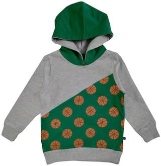 KiddoPanti Boy Cotton blend Printed Sweatshirt - Grey & Green