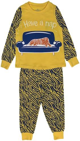 KiddoPanti Boy Cotton Printed Top & Pyjama Set-Yellow