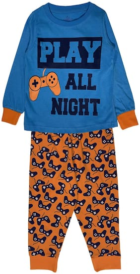 KiddoPanti Boy Cotton Printed Top & Pyjama Set-Multi