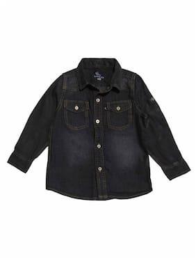 KiddoPanti Boy Denim Solid Shirt Black