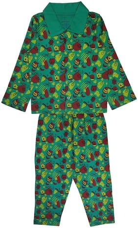 KiddoPanti Boy Cotton Printed Top & Pyjama Set-Green