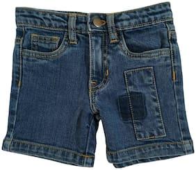 KiddoPanti Boys Fashion Denim Short With Patch (Blue)