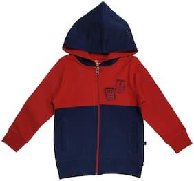 KiddoPanti Boy Cotton blend Colorblocked Sweatshirt - Blue & Red