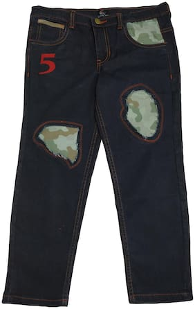 KiddoPanti Boy's Fashion Denim Pant With Camouflage Patch Look