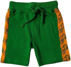 KiddoPanti Boys Knit shorts with F1 Car AOP Cut and Sew Panel (Green)