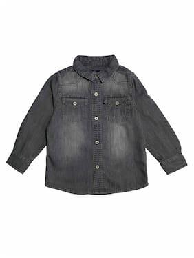 KiddoPanti Boy Denim Solid Shirt Grey