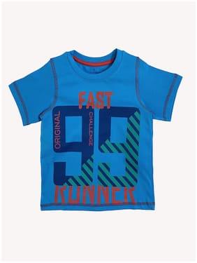 KiddoPanti Boy Cotton Printed T-shirt - Blue