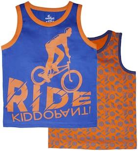 KiddoPanti Boy Cotton Printed T-shirt - Orange & Blue