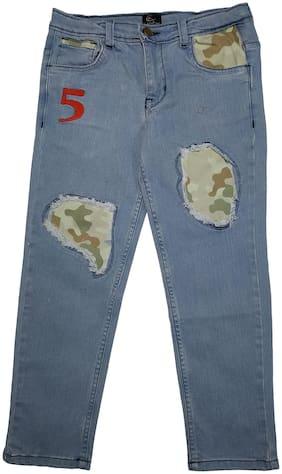 KiddoPanti Boy's Fashion Denim Pant With Camouflage Patch Look;Lt Wash