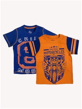 KiddoPanti Boy Cotton Printed T-shirt - Multi