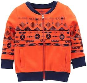 KiddoPanti Boy Cotton Printed Winter jacket - Orange