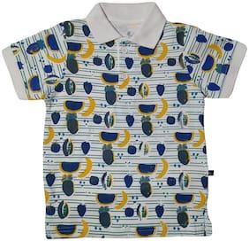 KiddoPanti Boy Cotton Printed T-shirt - White