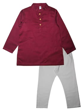 KiddoPanti Boy Cotton Solid Kurta pyjama set - Maroon & White