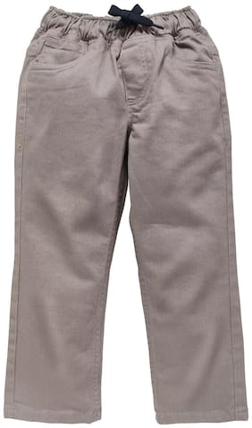 KiddoPanti Boy's Basic 5 pkt Casual Coloured Denim Pant (Beige)