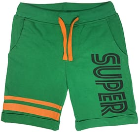 KiddoPanti Cotton Green Printed  Shorts For Boy