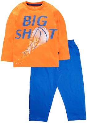 KiddoPanti Cotton Orange;Blue Printed Top & Pyjama Set  For Boy