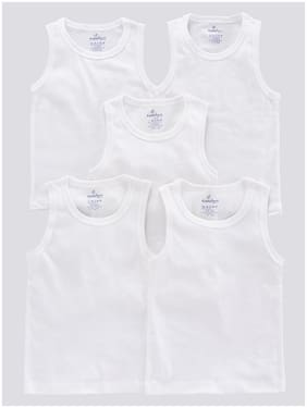 KiddoPanti Vest For Boys - White , Set of 5