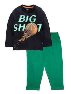 KiddoPanti Cotton Black;Green Printed Top & Pyjama Set  For Boy