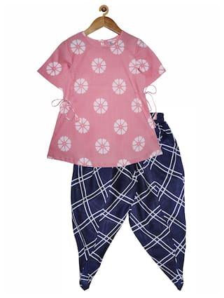 KiddoPanti Cotton Pink;Blue Printed Kurta & Dhoti  For Girl