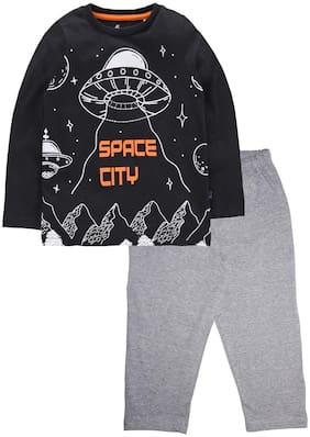 KiddoPanti Cotton Black;Grey Printed Top & Pyjama Set  For Boy