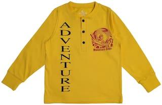 KiddoPanti Boy Cotton Printed T-shirt - Yellow