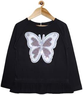 KiddoPanti Girl Cotton Embellished Top - Black