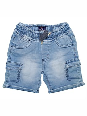 KiddoPanti Cotton;Denim Blue Embroidered  Shorts For Boy