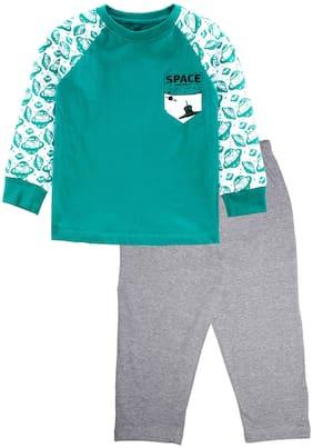 KiddoPanti Cotton Green;Grey Printed Top & Pyjama Set  For Boy